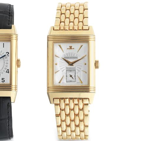 A fine 18K rose gold manual wind reversible bracelet watch with skeletonised movement