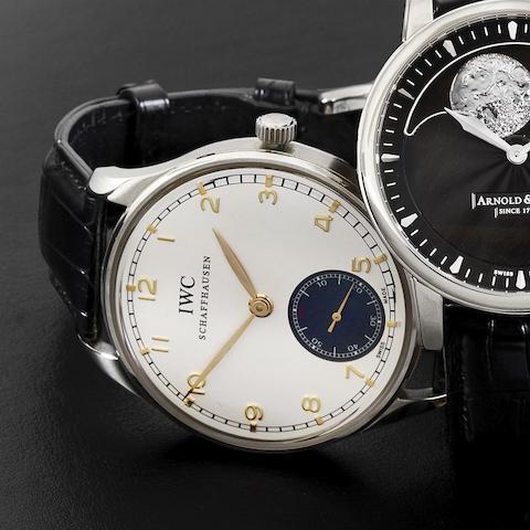 IWC. A stainless steel manual wind wristwatch