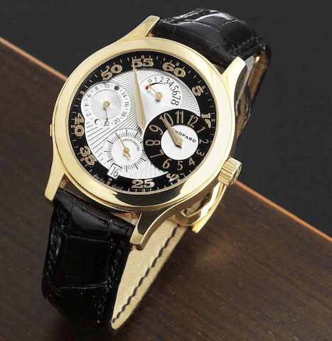 Chopard. An 18K gold manual wind calendar wristwatch with regulator style dial and 8 day power reserve