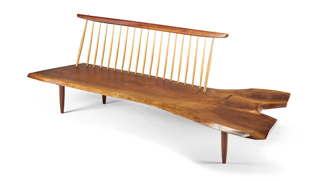 Conoid Bench with Spindle Back