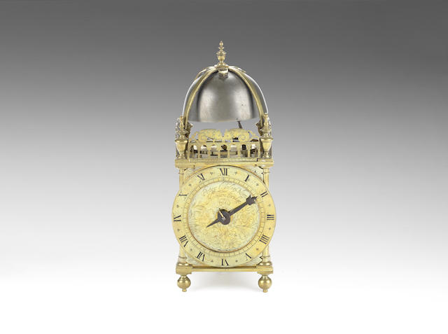 A second quarter of the 17th century brass lantern clock of small size