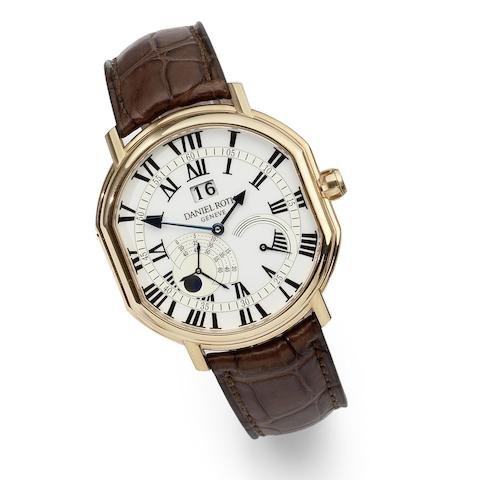 An 18K rose gold automatic calendar wristwatch with unusual constant seconds and power reserve