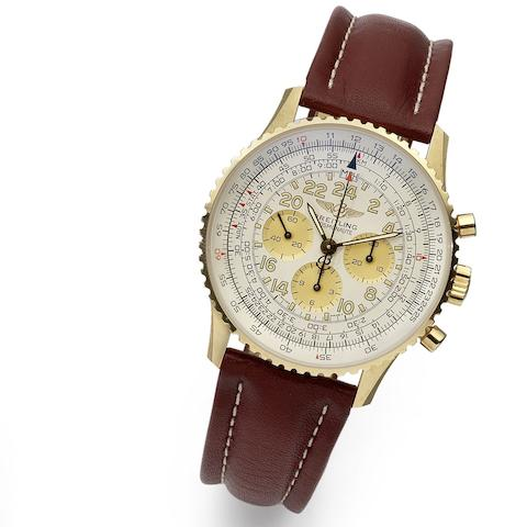 Breitling. An 18K gold manual wind chronograph wristwatch