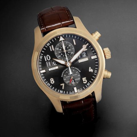 IWC. A fine 18K rose gold automatic perpetual calendar chronograph wristwatch with 68 hour power reserve