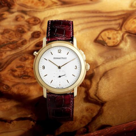 A very fine and rare 18K rose gold Grande and Petit Sonnerie manual wind repeating wristwatch