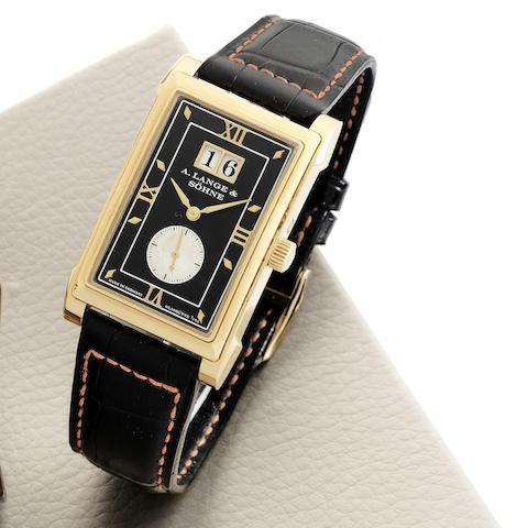 A. Lange & Söhne. An 18K rose gold manual wind calendar rectangular wristwatch