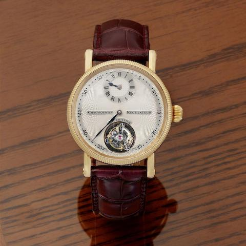 Chronoswiss. A fine 18K rose gold manual wind tourbillon wristwatch with regulator dial