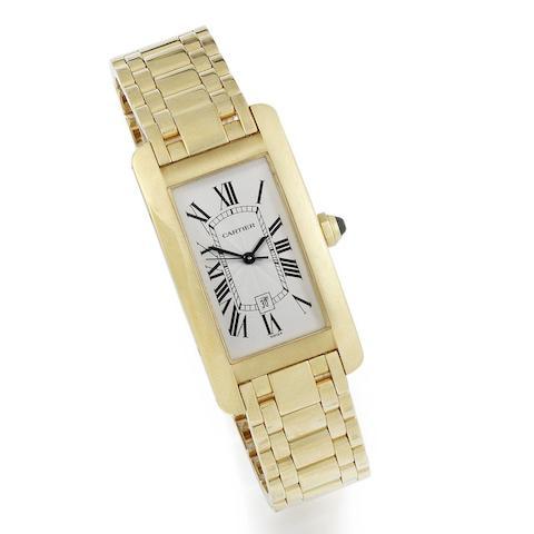Cartier. An 18K gold automatic calendar bracelet watch