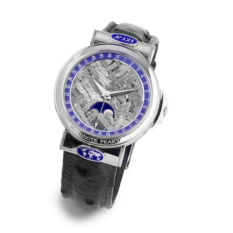 Corum. A fine and rare platinum and meteorite automatic wristwatch with moon phase