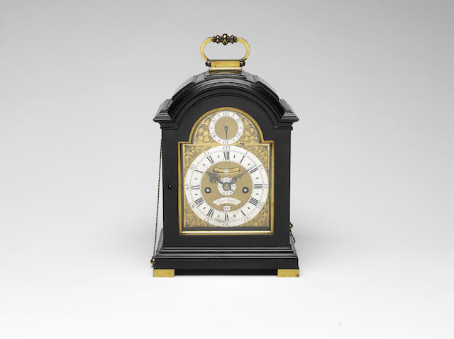 A fine and rare mid 18th century repeating, Dutch-striking ebony miniature table clock with Exhibition provenance