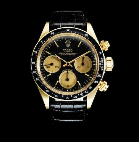 Rolex. A fine 18K gold manual wind chronograph wristwatch