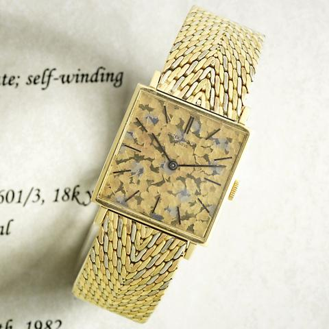 An unusual 18K three colour gold manual wind square bracelet watch