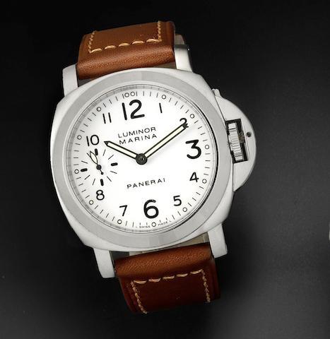 Panerai. A stainless steel manual wind wristwatch