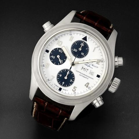 IWC. A stainless steel automatic calendar split second chronograph wristwatch