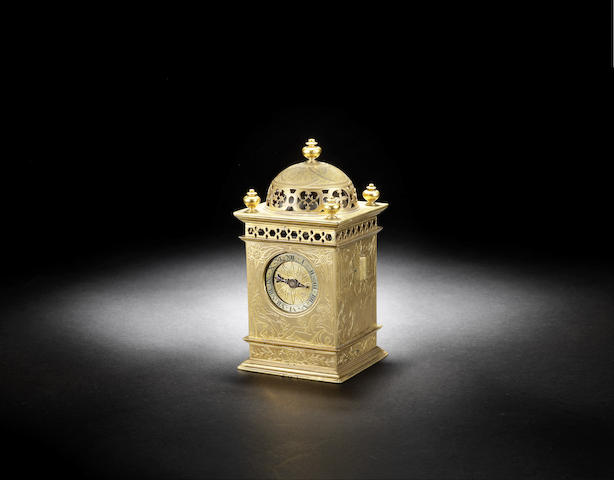 A fine and rare late 16th century French gilt brass table clock with stamped makers mark MB
