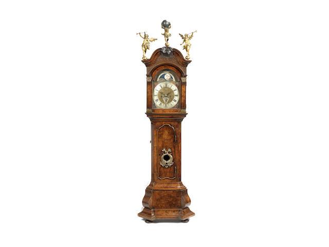 A mid 18th century Dutch walnut miniature longcase clock with Exhibition provenance