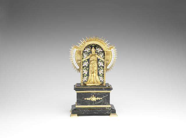 A fine and rare late 19th century French marble and enameled and gilt bronze bras en l'air mystery clock