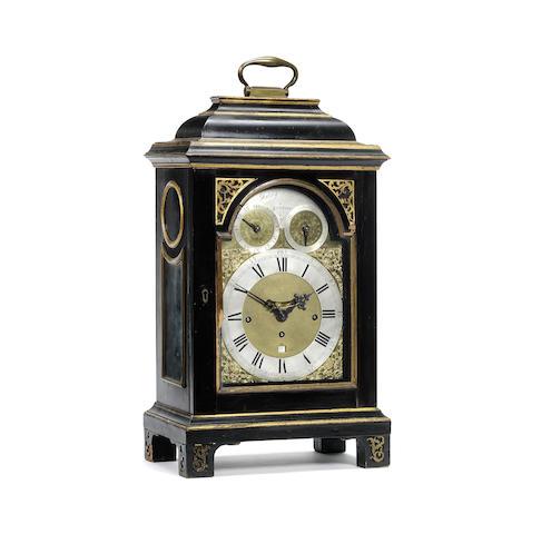 A mid 18th century ebonised quarter chiming table clock