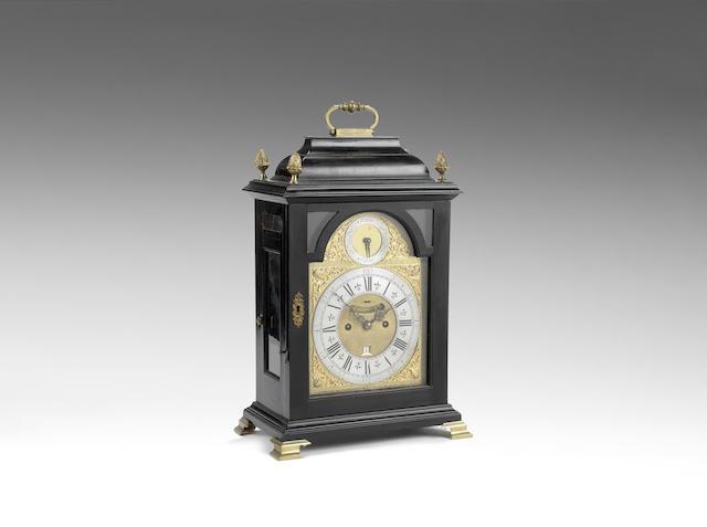 An interesting first half of the 18th century ebony veneered table clock