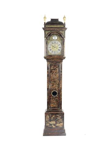 An impressive mid 18th century chinoiserie and faux-tortoiseshell lacquered longcase clock