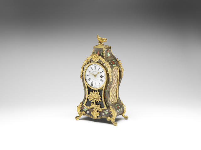 An 18th century French quarter striking boulle-inlaid mantel clock with de Bethune's escapement
