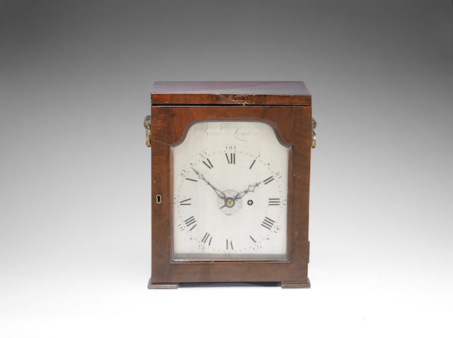 A fine and rare mid 18th century travelling alarm timepiece with silent escapement, in the original mahogany travel case