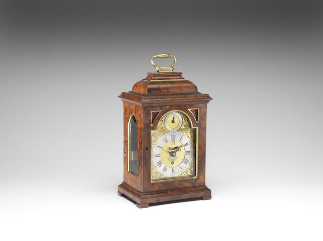 A good mid 18th century mahogany quarter repeating timepiece with silent escapement