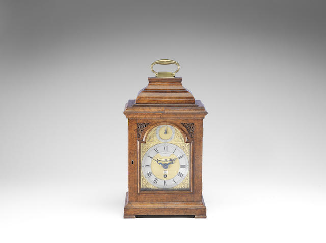 A very fine and rare first half of the 18th century burr walnut quarter repeating timepiece