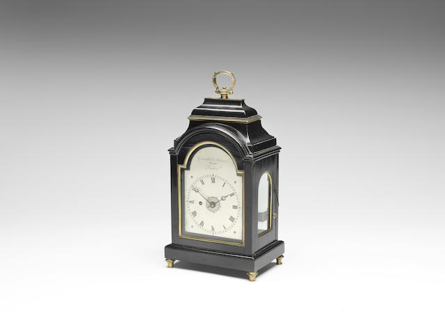 A good early 19th century brass-banded, ebonised alarm timepiece