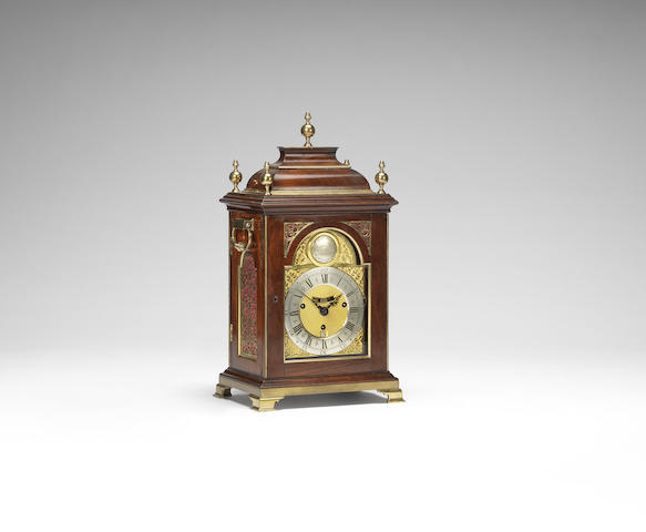 A very fine and rare quarter chiming and repeating padouk table clock of small size