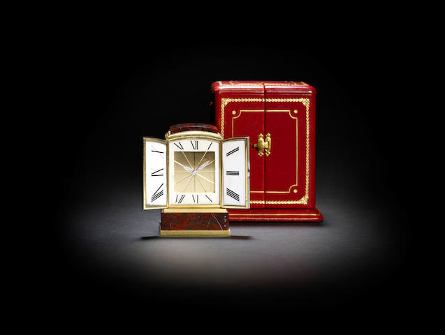 A fine mid 20th century gold, platinum and diamond mounted hardstone desk timepiece, in original fitted case