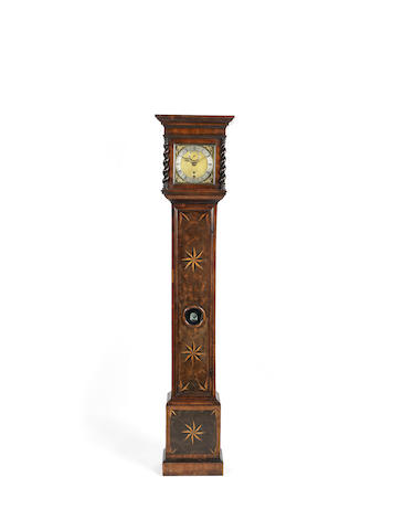 A late 17th century walnut parquetry longcase clock with nine inch dial