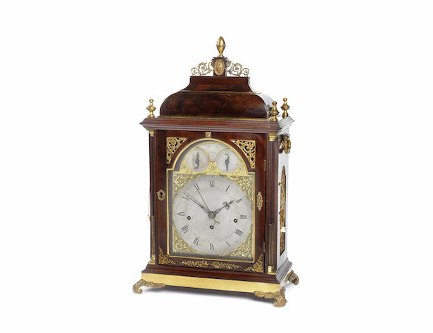 A good late 18th century brass-mounted mahogany two-tune musical table clock