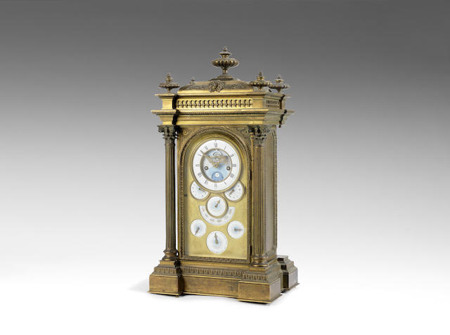 A fine and rare mid 19th century French exhibition quality gilt brass mantel clock