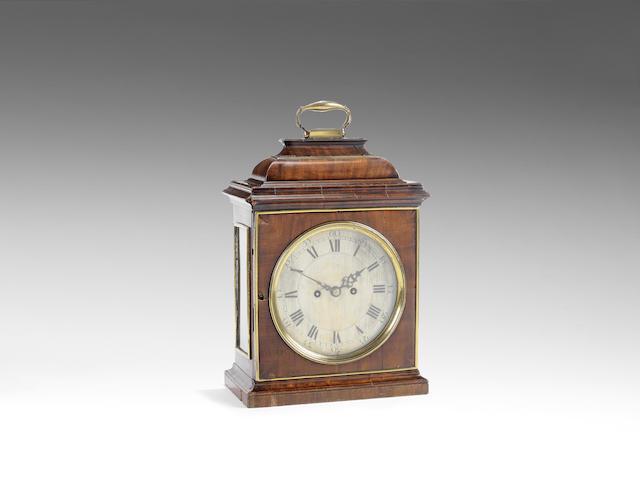 A good mid 18th century gilt brass mounted mahogany table clock