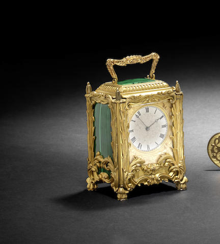 A good mid 19th century English malachite-inlaid ormolu mantel timepiece
