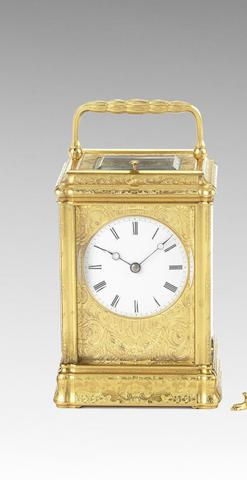 A good late 19th century French engraved gorge case carriage clock