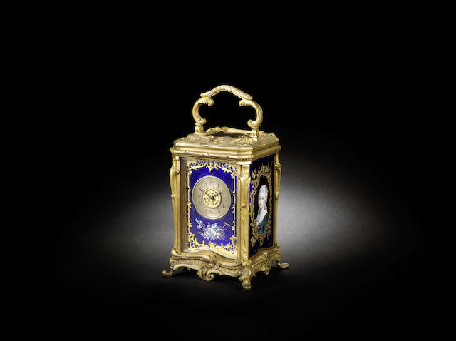 A late 19th century French enamel carriage clock