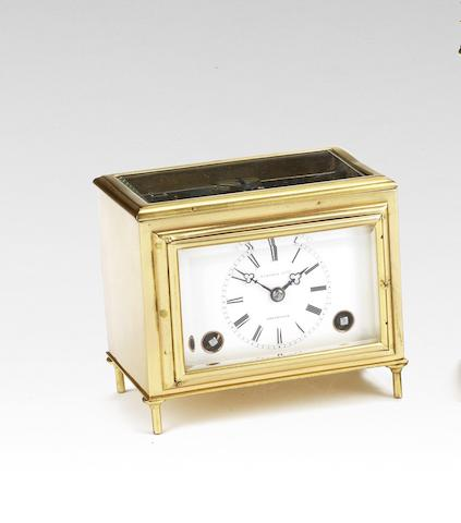 A rare mid 19th century carriage clock with chaff-cutter escapement