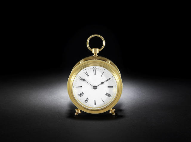 An interesting late 19th century French travelling clock with two-plane escapement