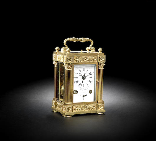 A good second quarter of the 19th century grande sonnerie striking carriage clock with alarm