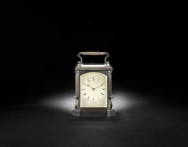 A good late 19th century patinated bronze cased English carriage clock
