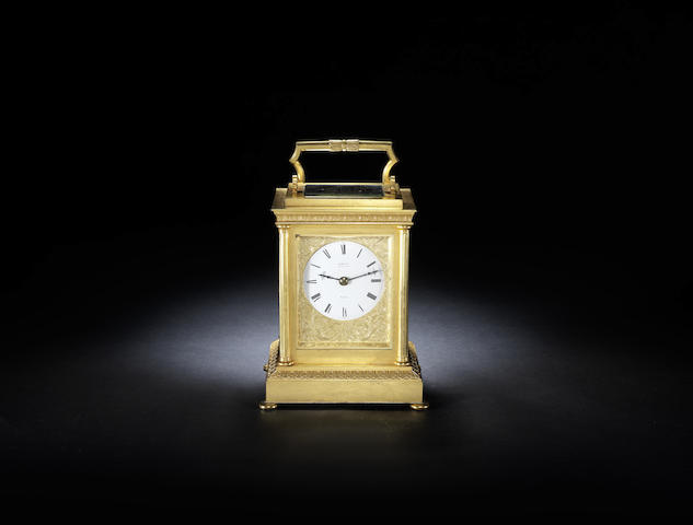A good second half of the 19th century English quarter striking carriage clock