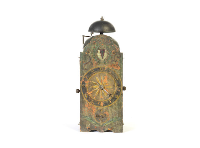 An early 17th century Southern German iron frame wall clock