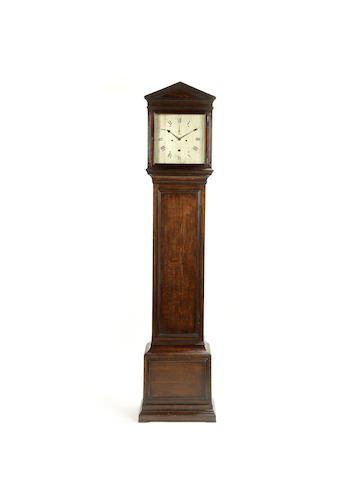 A good early 19th century architectural oak longcase clock in the manner of Vulliamy