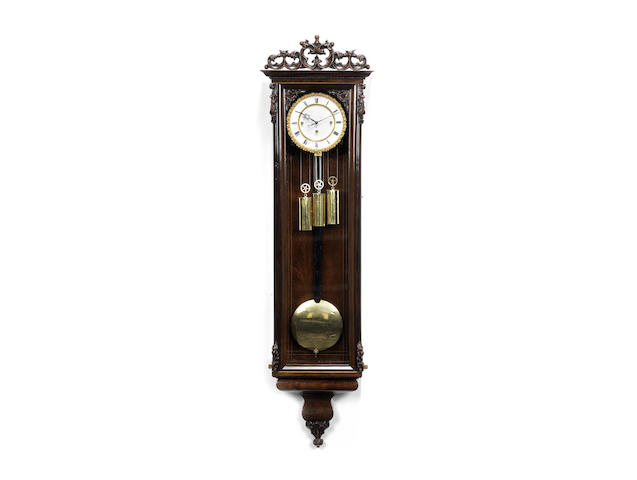 A second quarter of the 19th century rosewood grande sonnerie Vienna regulator
