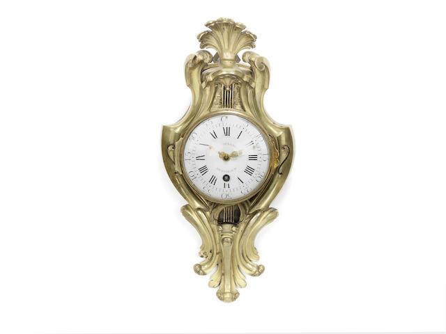 A rare mid-late 18th century ormolu quarter repeating cartel timepiece