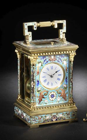 A good late 19th century French enamel decorated carriage clock