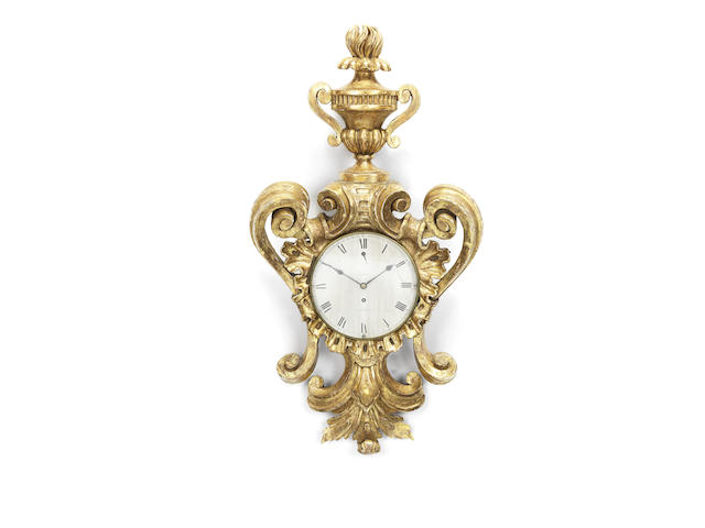 An early 19th century giltwood cartel timepiece