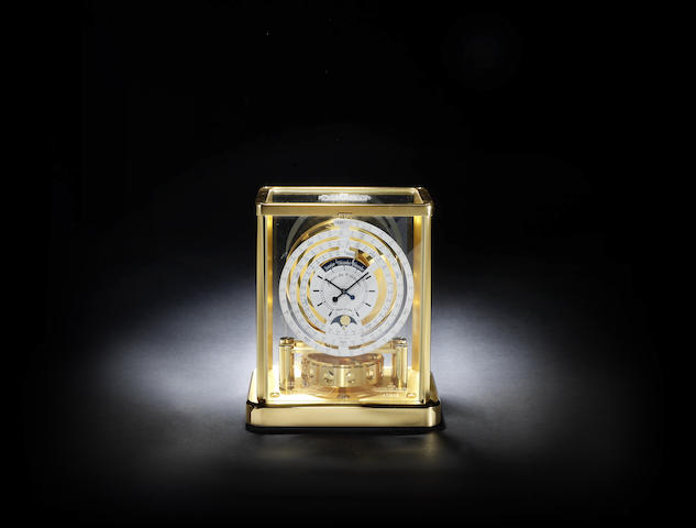 A limited edition commemorative atmos clock with one thousand year calendar and moonphase with original box